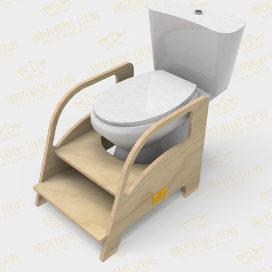 Σκαλάκι τουαλέτας - λεκάνης μπάνιου, τοποθετημένο μπροστά από μια λεκάνη.